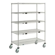Nexel Standard Duty Wire Exchange and Linen Transport Truck 5 Shelf Shelving Unit; Chrome