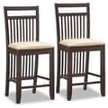 Leick Favorite Finds 25'' Bar Stool with Cushion (Set of 2); Wenge/Cream