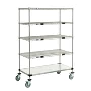 Nexel Standard Duty Wire/Solid Exchange and Linen Transport Truck 5 Shelf Shelving Unit; Chrome