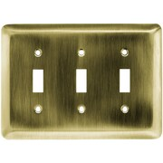 Liberty Hardware Stamped Steel Round Triple Switch Wall Plate; Antique Brass