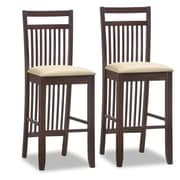 Leick Favorite Finds 30'' Bar Stool with Cushion (Set of 2); Wenge/Cream