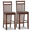 Leick Favorite Finds 30'' Bar Stool with Cushion (Set of 2); Dark Walnut/Chocolate