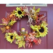 Silkmama Fall Leaves and Sunflower Wreath