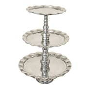 EC World Imports Urban 3-Tier Aluminum Round Tray Platter Server and Stand
