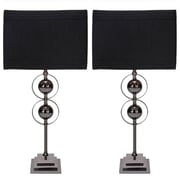 EC World Imports Casa Cortes Loft Obsession Metal 25'' Table Lamps with Drum Shade (Set of 2)