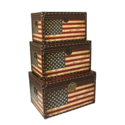 EC World Imports Antique American Flag Decorative Trunk Cases
