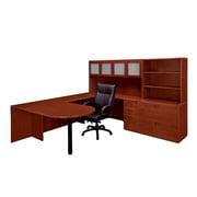 "DMI Office Furniture Fairplex 7005707G 65"" Laminate Deluxe Right Executive Peninsula U Workstation, Cognac Cherry"