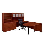 "DMI Office Furniture Fairplex 7005708G 65"" Laminate Deluxe Left Executive Peninsula U Workstation, Cognac Cherry"