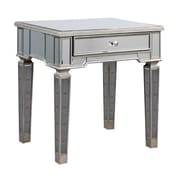 Elegant Lighting Florentine End Table; Silver & Clear Mirror