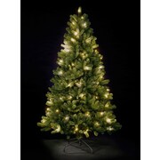 Hometime Snowtime 6.6' Green Pre-Lit Rocky Mountain Artificial Christmas Tree w/ 350 Warm White LEDs