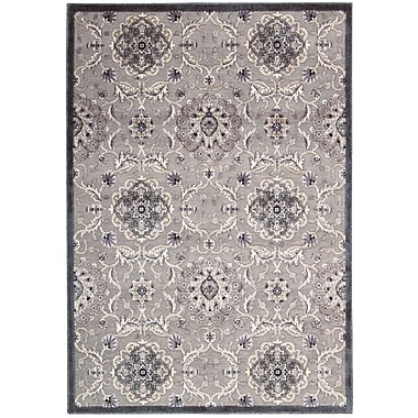 Nourison Graphic Illusions Grey Floral Area Rug; 5'3'' x 7'5''