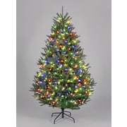 Hometime Snowtime 6.6' Green Pre-Lit Boston Spruce Artificial Christmas Tree w/ 700 Color Lights