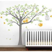Pop Decors Nursery Tree with Cute Owls Vinyl Art Wall Decal; Gray, Lime, and Yellow