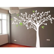Pop Decors Big Tree w/ Love Birds Wall Decal; White and Green