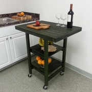 Oasis Concepts Folding Kitchen Cart with Wood Top; Emerald