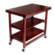 Oasis Concepts Folding Kitchen Island with Wood Top; Walnut
