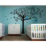 Pop Decors Nursery Tree with Cute Owls Vinyl Art Wall Decal; Black and Blue