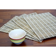 Leaf & Fiber Vaayil Handmade Banana Fiber Stripped Placemat (Set of 4)