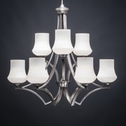 Toltec Lighting Zilo 9-Light Shaded Chandelier; White
