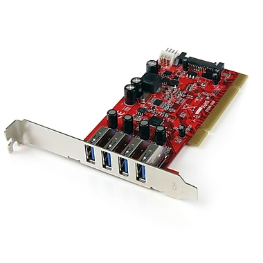 StarTech.com PCI SuperSpeed USB 3.0 Adapter Card with SATA/SP4 Power, 4 Port