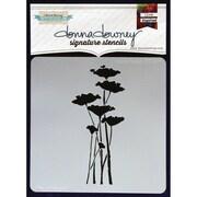 "Donna Downey Stencils 8 1/2"" x 8 1/2"" Signature Stencil, Poppy Forest"