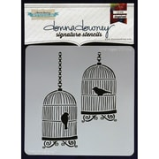 "Donna Downey Stencils 8 1/2"" x 8 1/2"" Signature Stencil, Bird Cages"