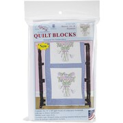 "Jack Dempsey Stamped White Quilt Blocks, 18"" x 18"", Mason Jar & Flowers"