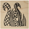 Ranger Dyan Reaveley's 3in. x 3in. Dylusions Mounted Wood Stamp, Doodled Swirls