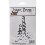 """Riley & Company Funny Bones Cling Mounted Stamp, 5"""" x 3 1/2"""", Merry Christmas"""