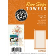 "Aunt Martha's Stitch 'Em Up Vintage Box Stripe Dish Towels, 28"" x 18"", Orange On Natural"