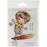 "La-La Land Crafts 4"" x 3"" Cling Mount Rubber Stamps, Surfing Luka"