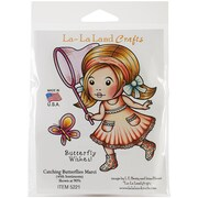 "La-La Land Crafts 4"" x 3"" Cling Mount Rubber Stamps, Catching Butterflies Marci"