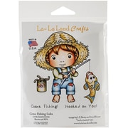 "La-La Land Crafts 4"" x 3"" Cling Mount Rubber Stamps, Gone Fishing Luka"