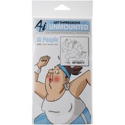 "Art Impressions People Cling 7"" x 4"" Rubber Stamp, Don't Sweat It"
