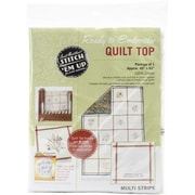 "Aunt Martha's Stitch 'Em Up Ready To Embroider Quilt Top, 45"" x 62"", Retro Stripe"