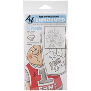 "Art Impressions People Cling 7"" x 4"" Rubber Stamp, Sports Fan"