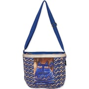 "Laurel Burch® 14 1/2"" x 12"" Zig Zag Blue Cat Crossbody Tote Bag, Azul"