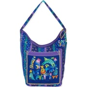 "Laurel Burch® 15 1/2"" x 7"" x 15"" Hobo Bag, Blue Mythical Dogs"