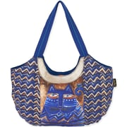 "Laurel Burch® 19"" x 13 1/2"" Cat ZigZag Scoop Tote Bag, Blue Azul"