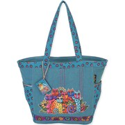 "Laurel Burch® 20"" x 6 1/2"" x 12 1/2"" Shoulder Tote, Blue Feline Clan"