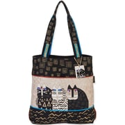 "Laurel Burch® 16 1/2"" x 17"" Shoulder Tote, Black Wild Cats"