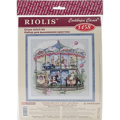 """""RIOLIS 14 Count Counted Cross Stitch Kit, 13 3/4"""""""" x 13 3/4"""""""", Carousel"""""" 1514281"