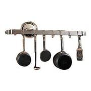 Rogar Gourmet Bar 36'' Wall Mounted Pot Rack; Hammered Steel / Chrome