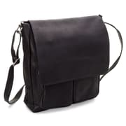 Le Donne Leather Cargo Laptop Messenger Bag; Black