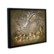 ArtWall Baby Ducks by Antonio Raggio Framed Graphic Art on Wrapped Canvas; 14'' H x 18'' W