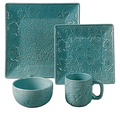 HiEnd Accents Savannah 16 Piece Dinnerware Set; Turquoise WYF078277445869