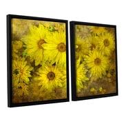 ArtWall Bright Sunflowers by Antonio Raggio 2 Piece Framed Graphic Art on Canvas Set