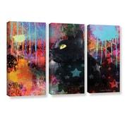 ArtWall Black Cat Pop Art by Svetlana Novikova 3 Piece Gallery-Wrapped Canvas Set