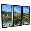 Art Wall Green Vineyard by Vincent Van Gogh 3 Piece Floater Framed Painting Print on Canvas Set