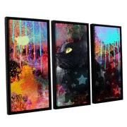 ArtWall Black Cat Pop Art by Svetlana Novikova 3 Piece Floater Framed Canvas Set